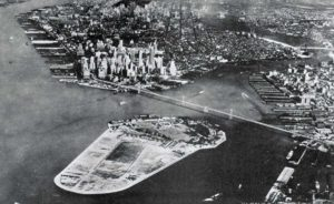 An overhead rendering of the Brooklyn-Battery Bridge; Courtesy of The Age of Nepotism