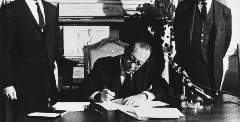 Mayor Wagner signing the Landmarks Law, 1965; Courtesy of the New York Preservation Archive Project
