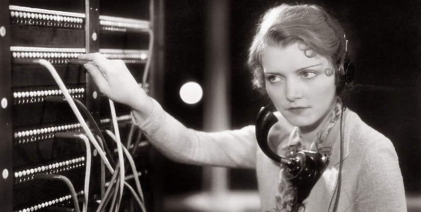 Young woman working as a telephone operator, c. 1930s; Courtesy of Vintage Everyday