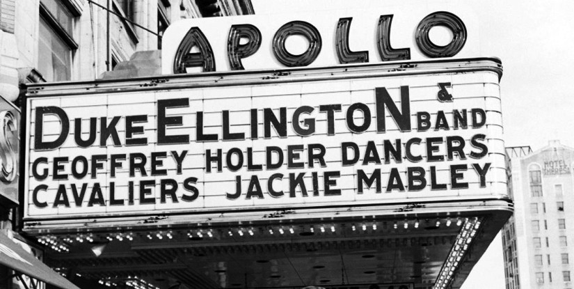 Detail of a photograph of the Apollo Theater in 1955; Courtesy of G. Marshall Wilson/Ebony Collection/AP