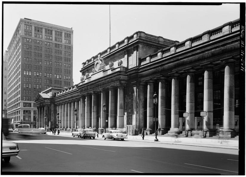 Historic American Buildings Survey, Cervin Robinson, Photographer May 8, 1962, EAST (SEVENTH AVENUE) FACADE FROM NORTHEAST. - Pennsylvania Station, 370 Seventh Avenue, West Thirty-first, Thirty-first-Thirty-third Streets, New York County, NY; Courtesy of The Library of Congress Prints and Photographs Division