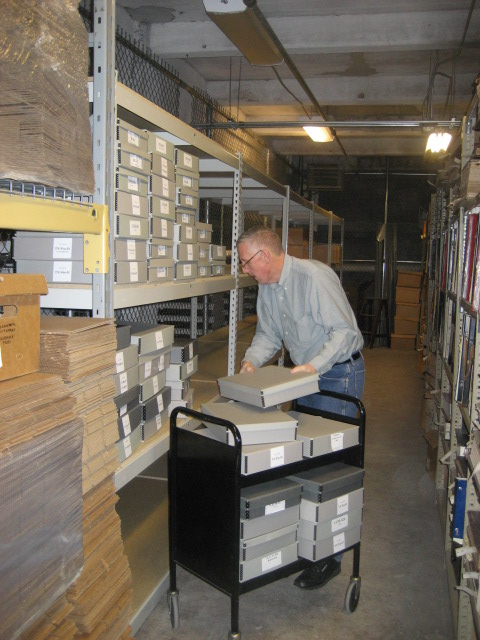 Philadelphia Athenaeum staffer Bruce Laverty organizes the Association for Preservation Technology International (APT) Archives into its new home. | Photo courtesy of Association for Preservation Technology International (APT)