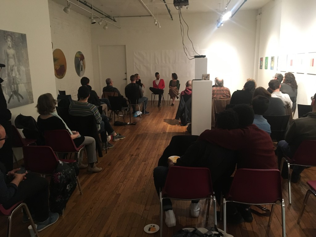 Board members Paul Lozito and Gina Pollara, as well as Bronx educator Lucy Bloch-Wehba, lead a thoughtful discussion on cooperative housing following the screening of At Home in Utopia (2008) at the BronxArtSpace. | Photo courtesy Josie Naron