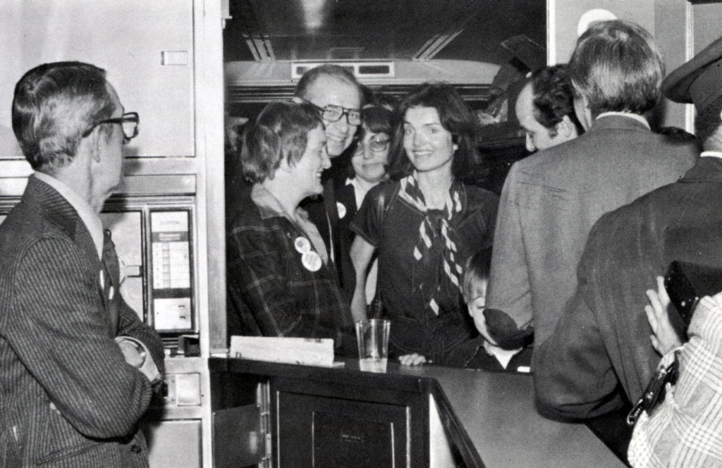 acqueline Kennedy Onassis and other Grand Central Terminal advocates aboard the Landmark Express, a chartered train that took the preservation activists to Washington, D.C. to protest Grand Central's threatened demolition. | Courtesy Amtrak News
