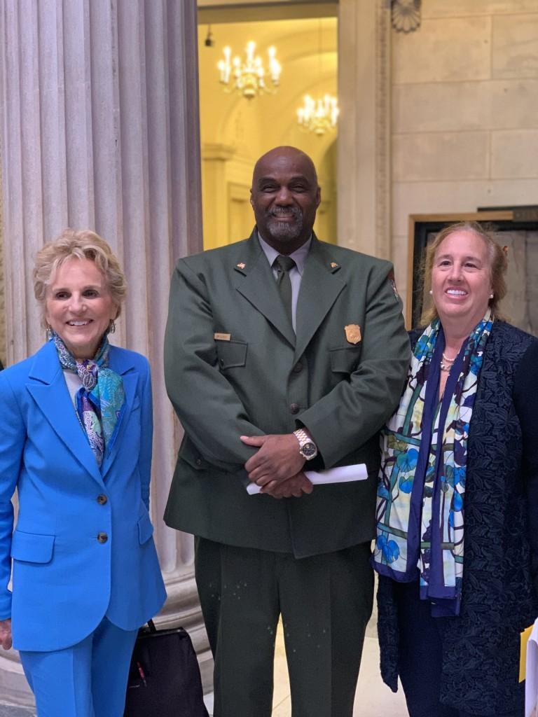 Warrie Price (The Battery Conservancy), Jimmy Cleckley (National Park Service), and Gale Brewer (Manhattan Borough President) share congratulations following the event. | Courtesy Josie Naron