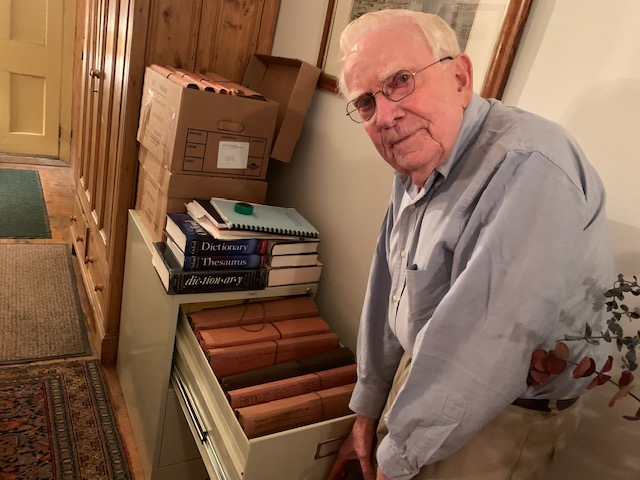 Otis Pratt Pearsall and a portion of his home archives. | Courtesy Elizabeth Rohn Jeffe