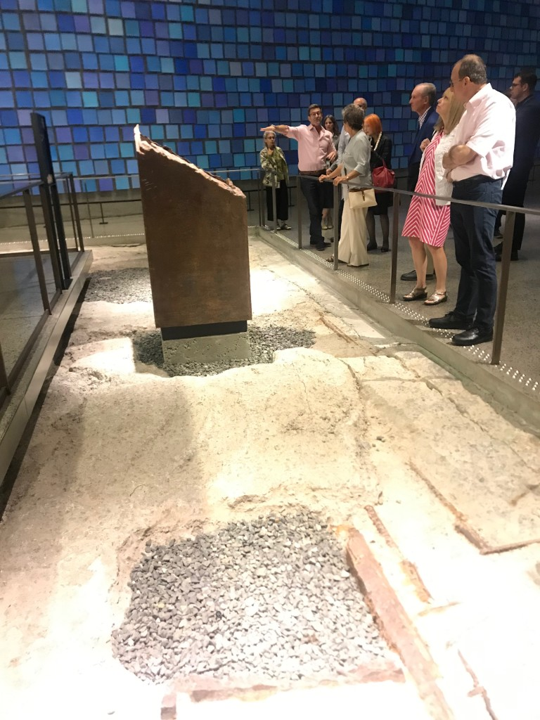 Stewardship Society members observe the preserved remnants of the box column footprints from the Twin Towers. | Photo courtesy Brad Vogel