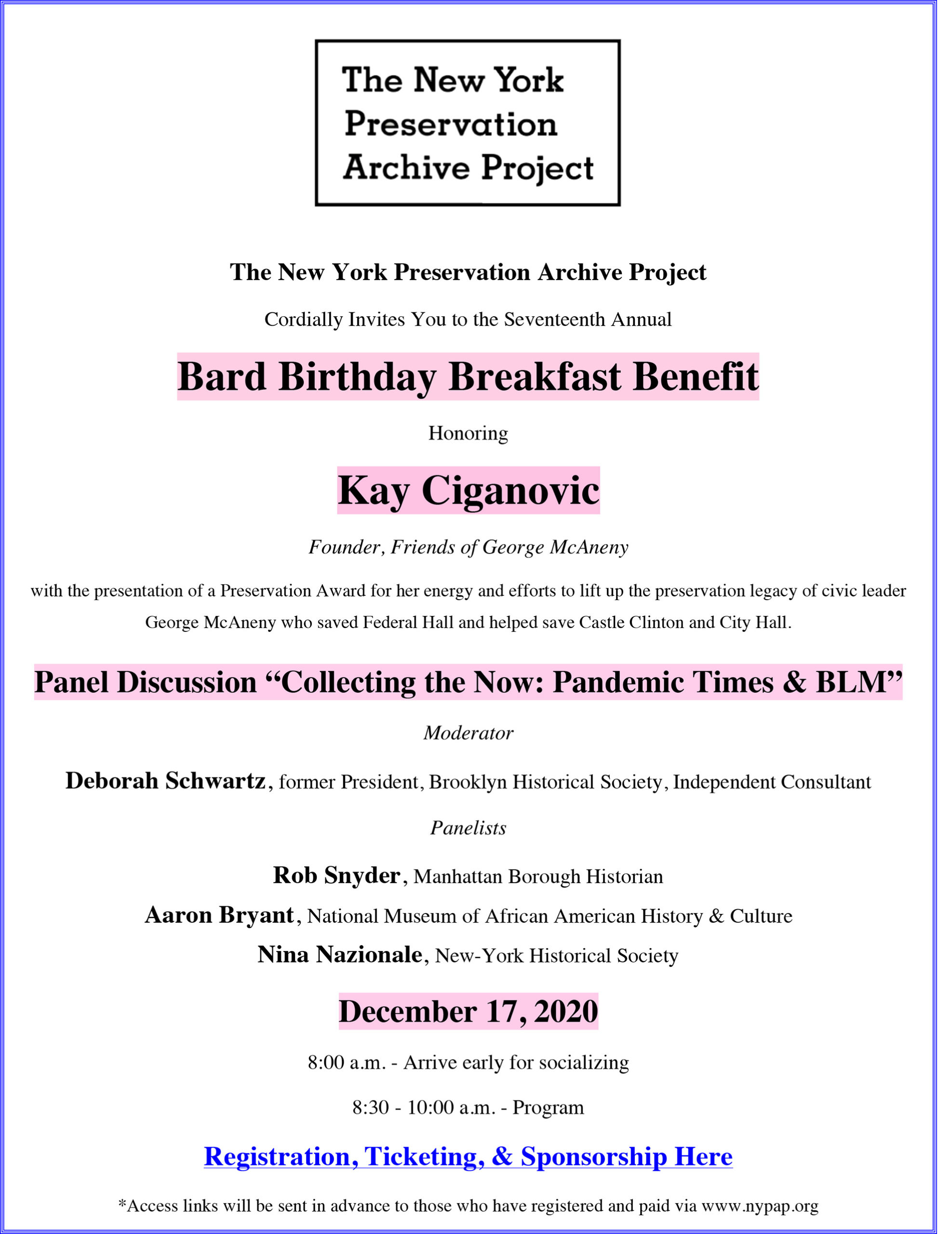 The New York Preservation Archive Project Bard Birthday Breakfast Benefit